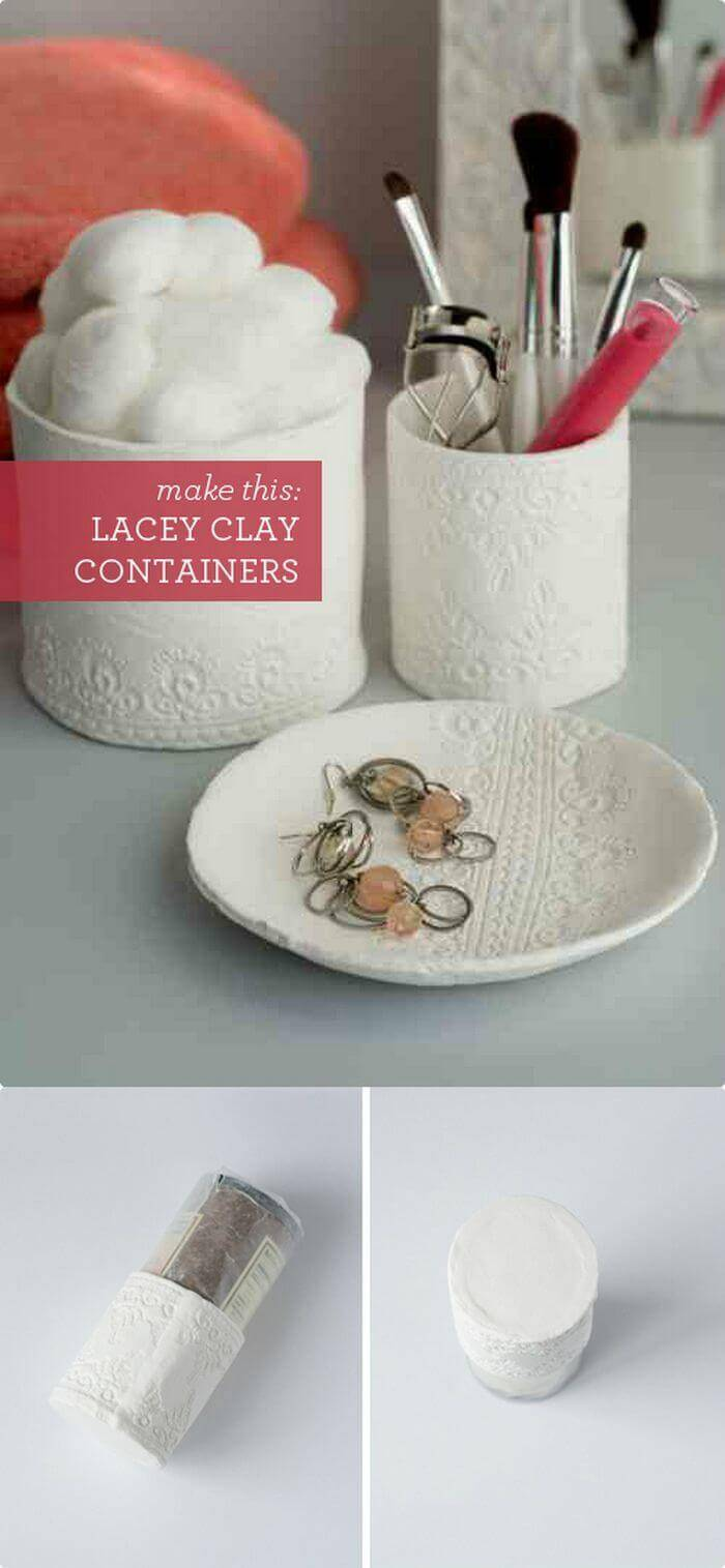DIY Lacey Clay Containers