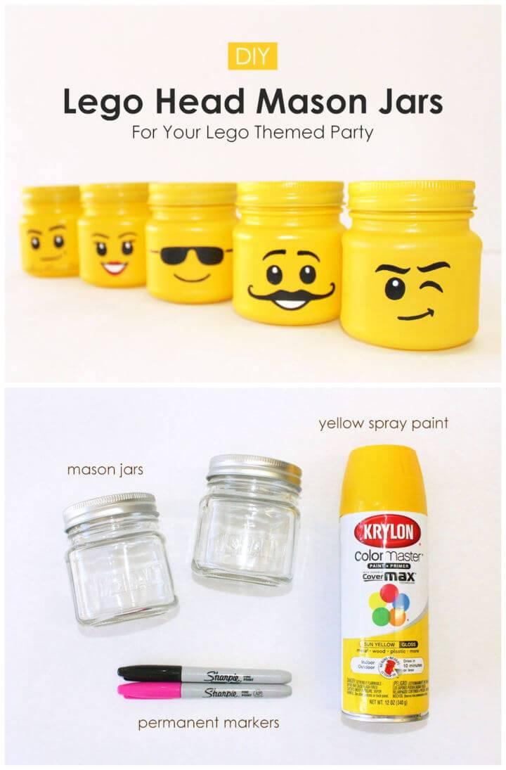 DIY Lego Head Mason Jars For Your Lego Themed Party