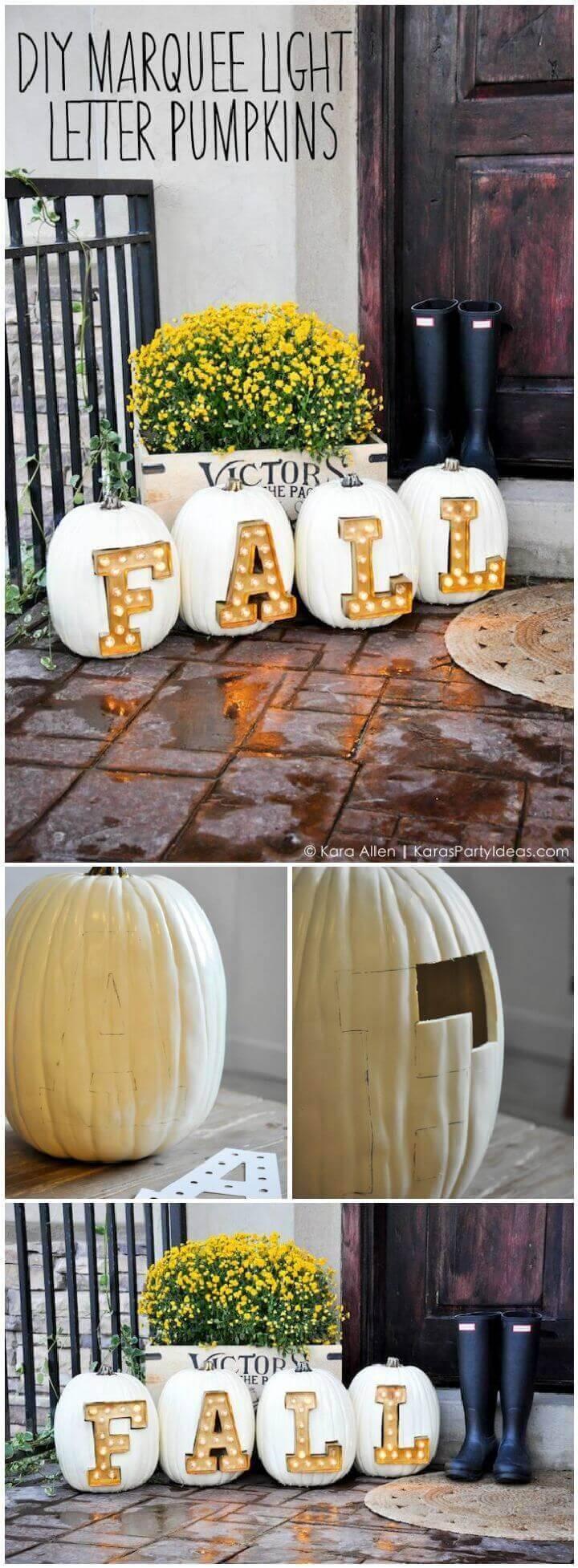 DIY Marquee Light Letter Pumpkins