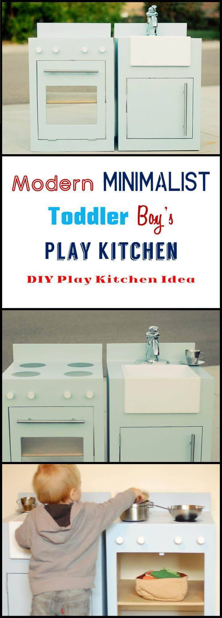 DIY modern minimalist toddler boys play kitchen