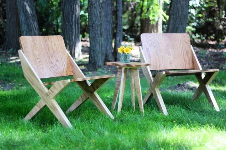 DIY One Sheet Plywood Chair Set