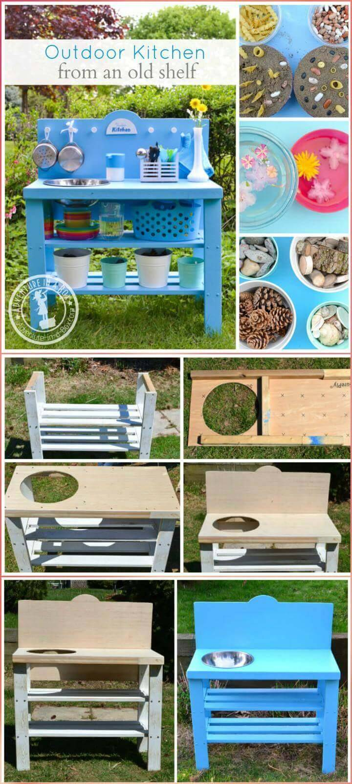 repurposed old shelf kids play kitchen