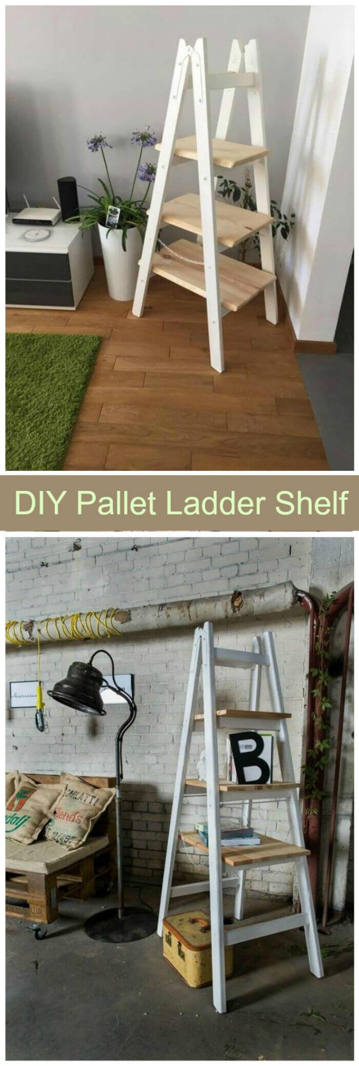 DIY Pallet Ladder Shelf