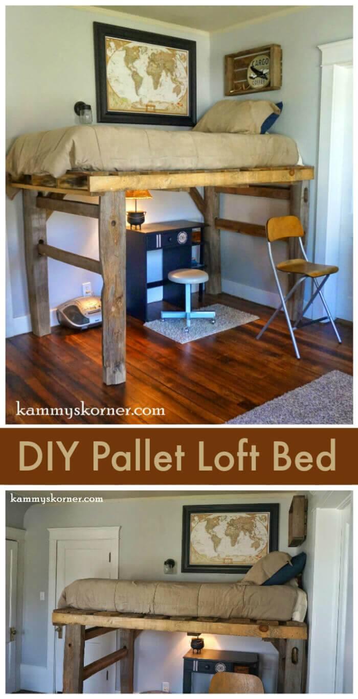 DIY Pallet Loft Bed