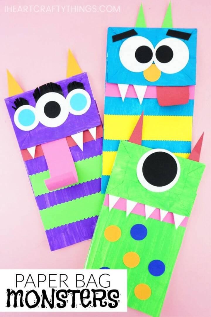 DIY Paper Bag Monster Puppets
