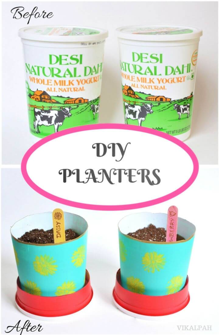 DIY Planters from Yogurt Containers