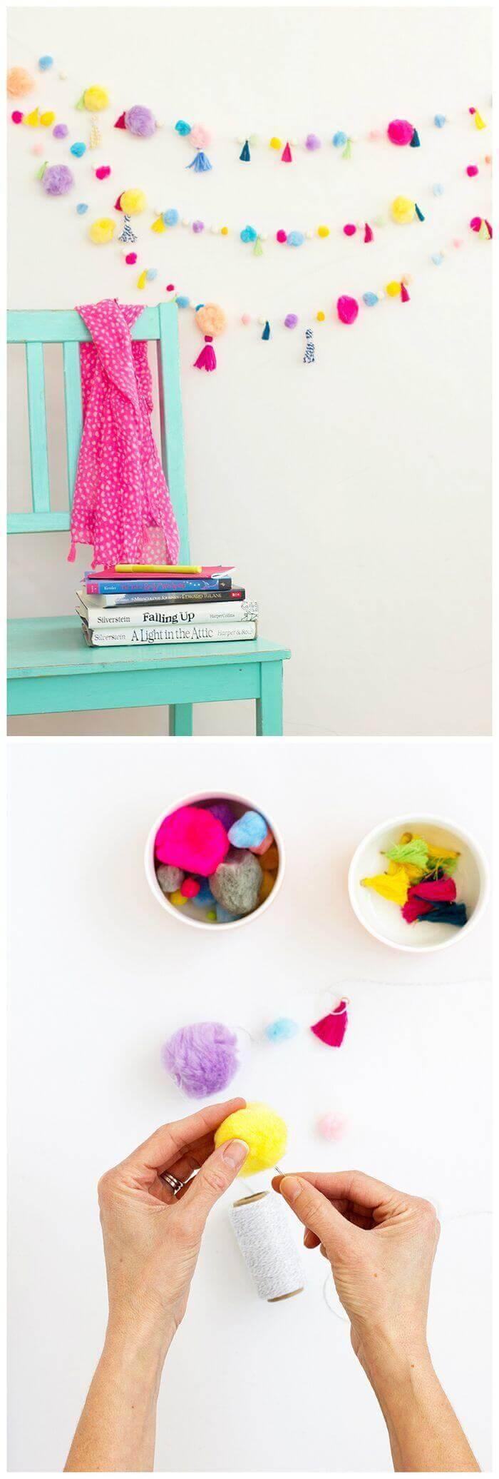 DIY Pom Pom Tassel Garland