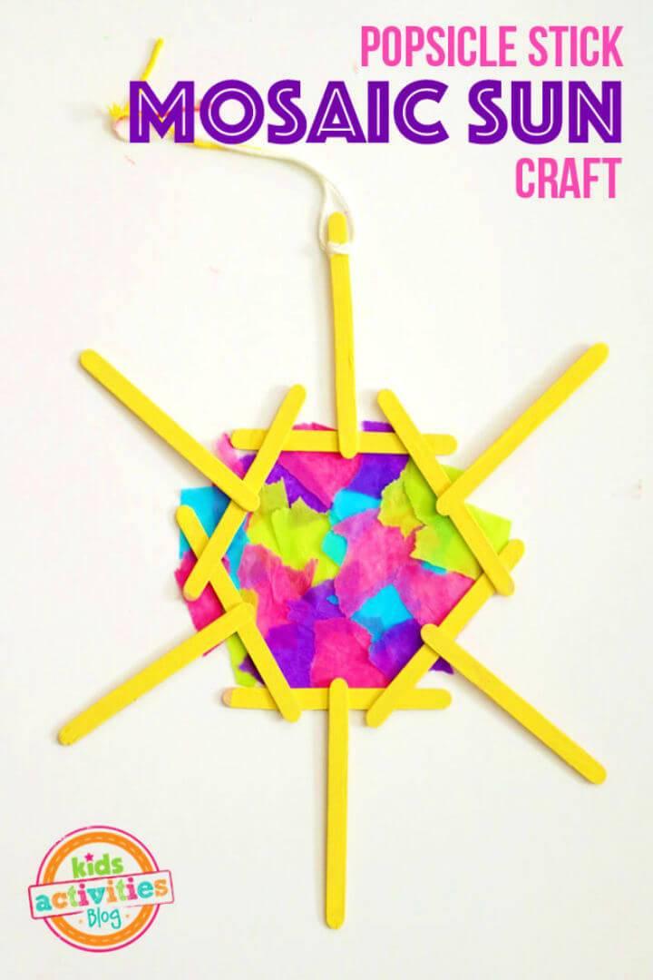 DIY Popsicle Stick Mosaic Sun Craft