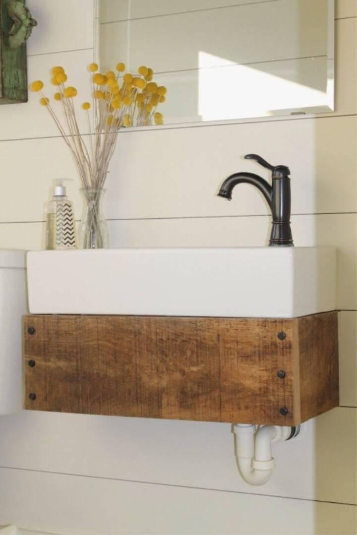 DIY Reclaimed Wood Floating Vanity