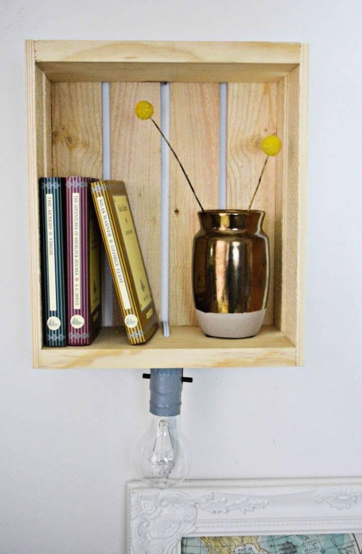 DIY Shelf Sconce Wood Lamp