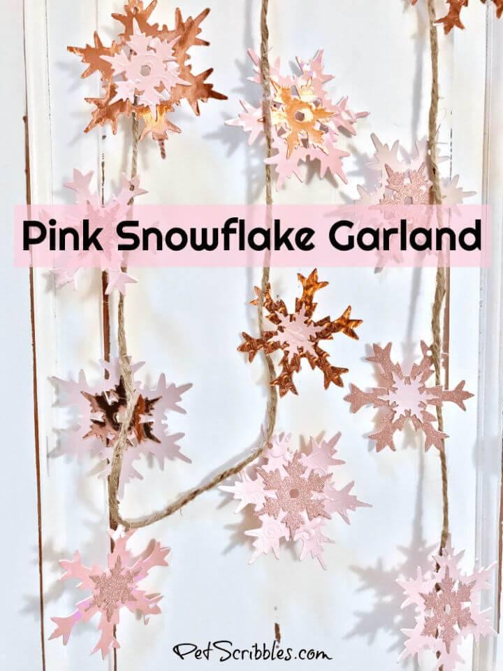 DIY Sparkling Pink Snowflake Garland