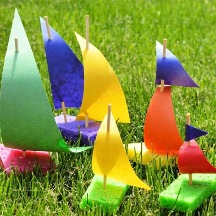 DIY Sponge Sailboat Camp Craft for Kids
