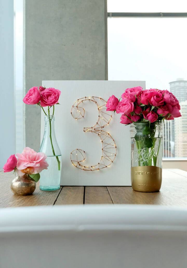 DIY Starry Light Wedding Table Number