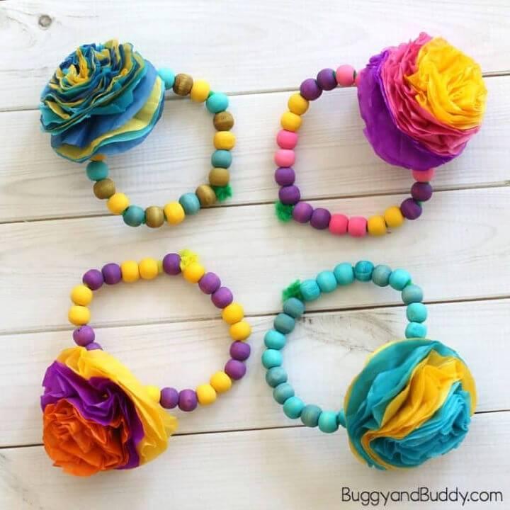 DIY Tissue Paper Flower Bracelet Craft for Kids