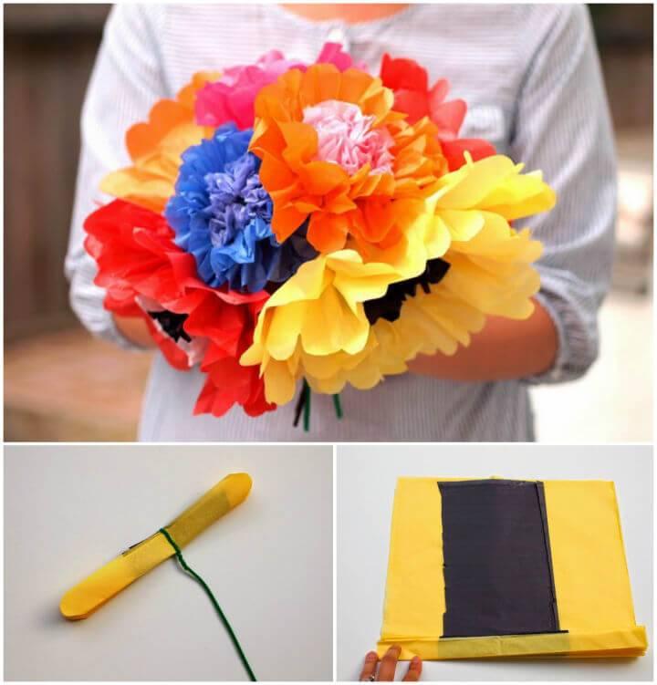 DIY Tissue Paper Flowers Bouquet