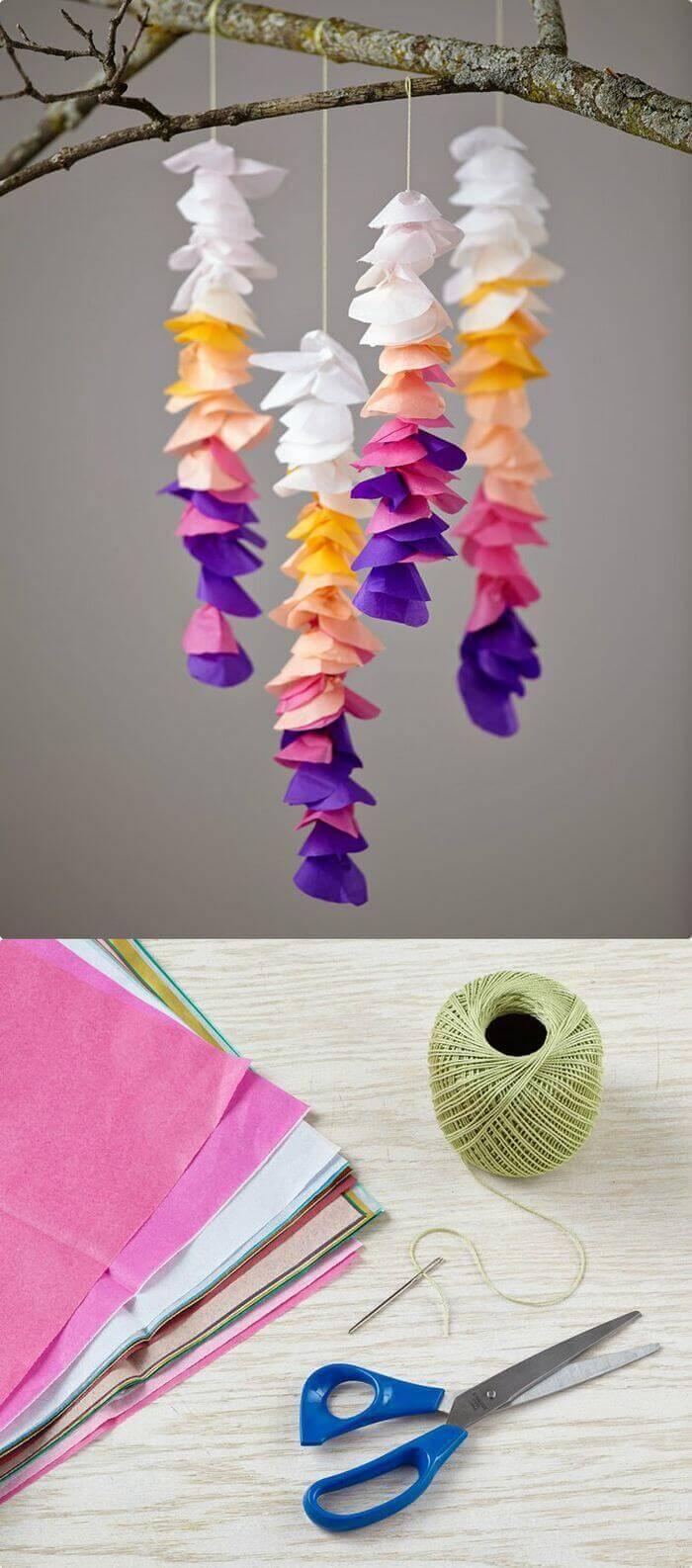 DIY Tissue Wisteria