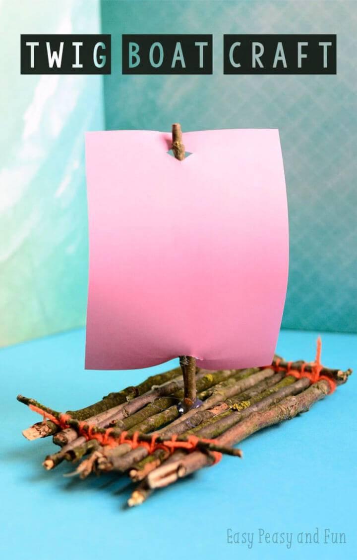 DIY Twig Boat Craft for Camp