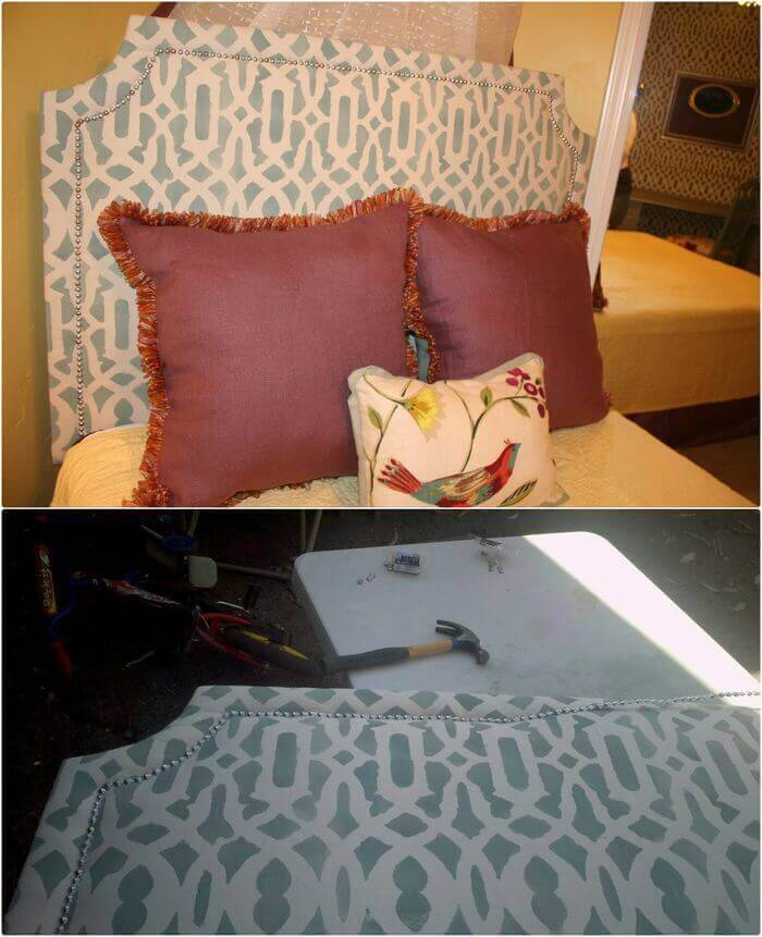DIY Upholstered Headboard with Stenciled Fabric