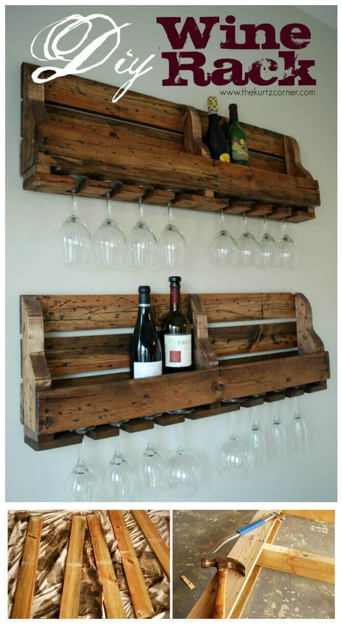 Wooden Pallet Drink Bottle Rack