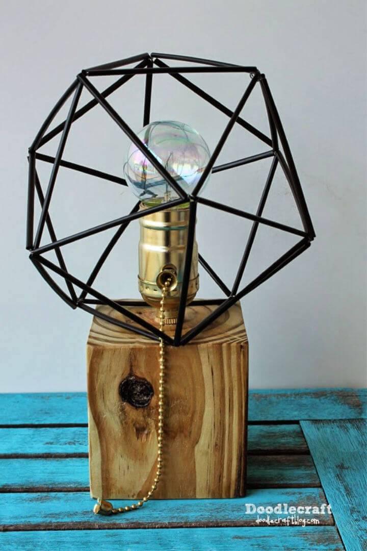 DIY Wood Lamp with Himmeli Shade