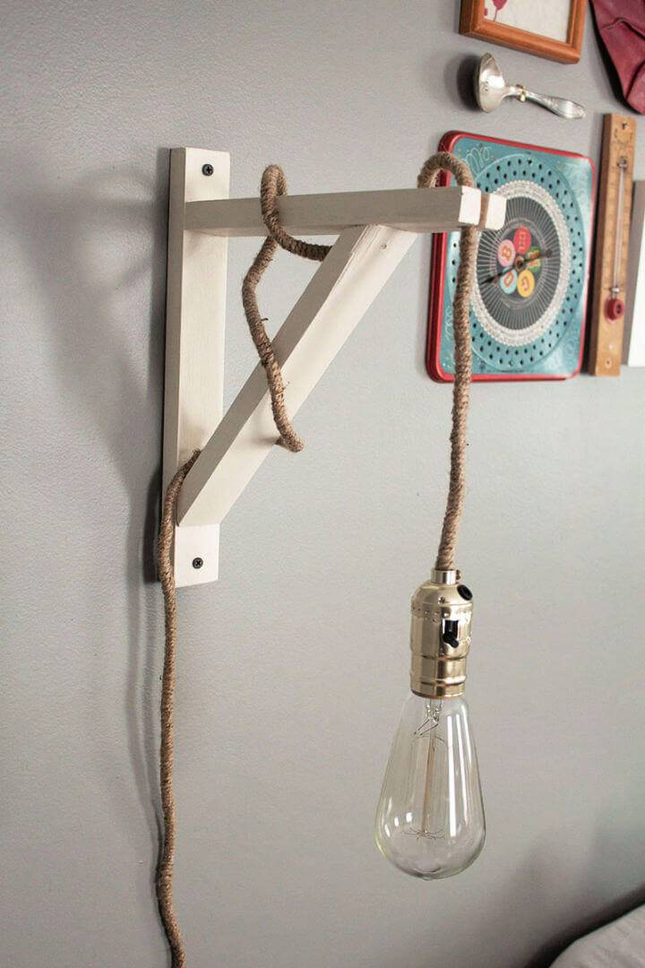 DIY Wood Wall Lamp Under 40