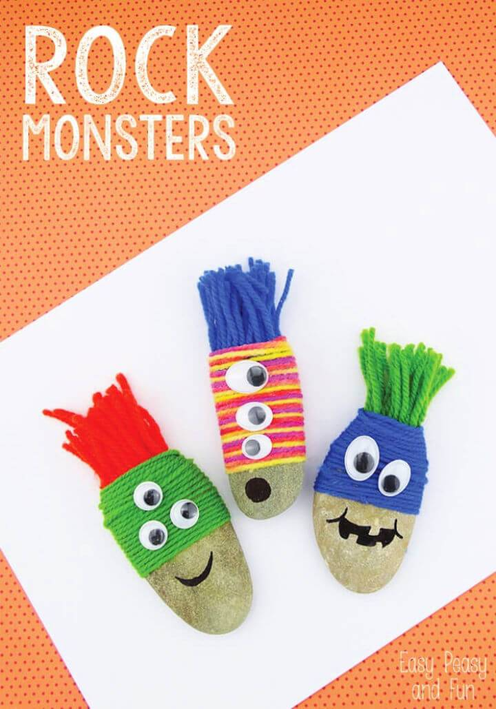 DIY Yarn Wrapped Rock Monsters