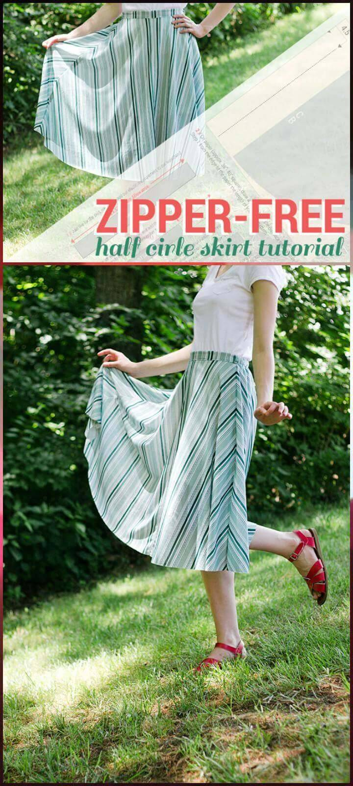 easy zipper-free half circle skirt tutorial