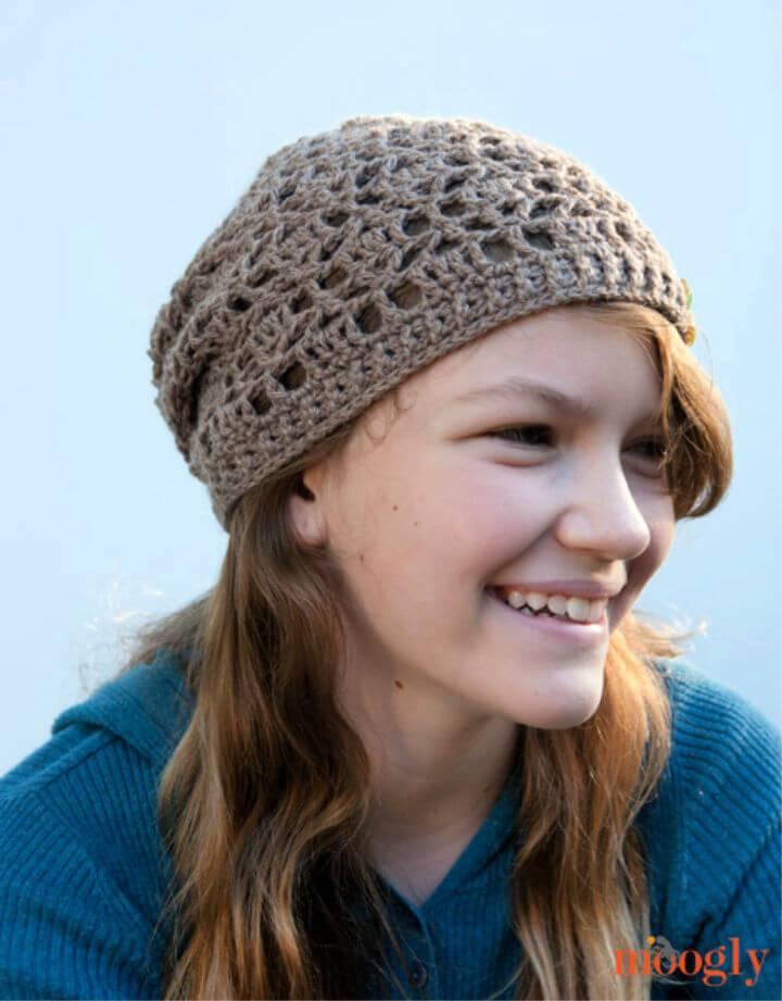 Easy Crochet Fallen Leaves Slouch Hat Free Pattern