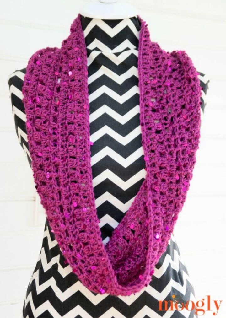 Easy Crochet Suddenly Sparkles Scarf Free Pattern
