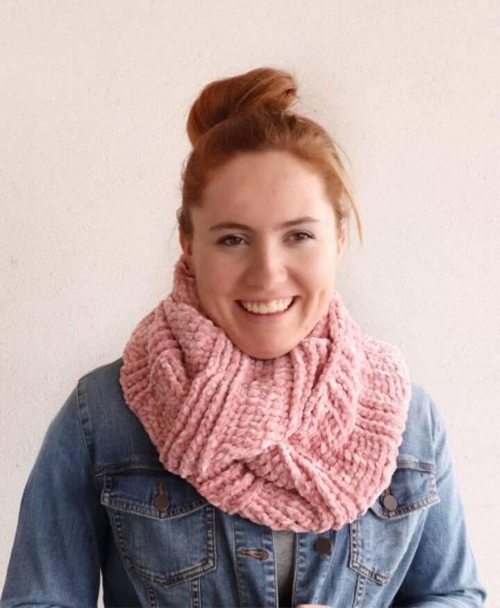 Easy Crochet Velvet Infinity Scarf Free Pattern