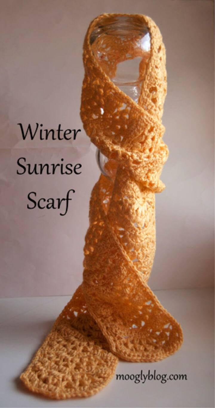 Easy Winter Sunrise Scarf Free Pattern