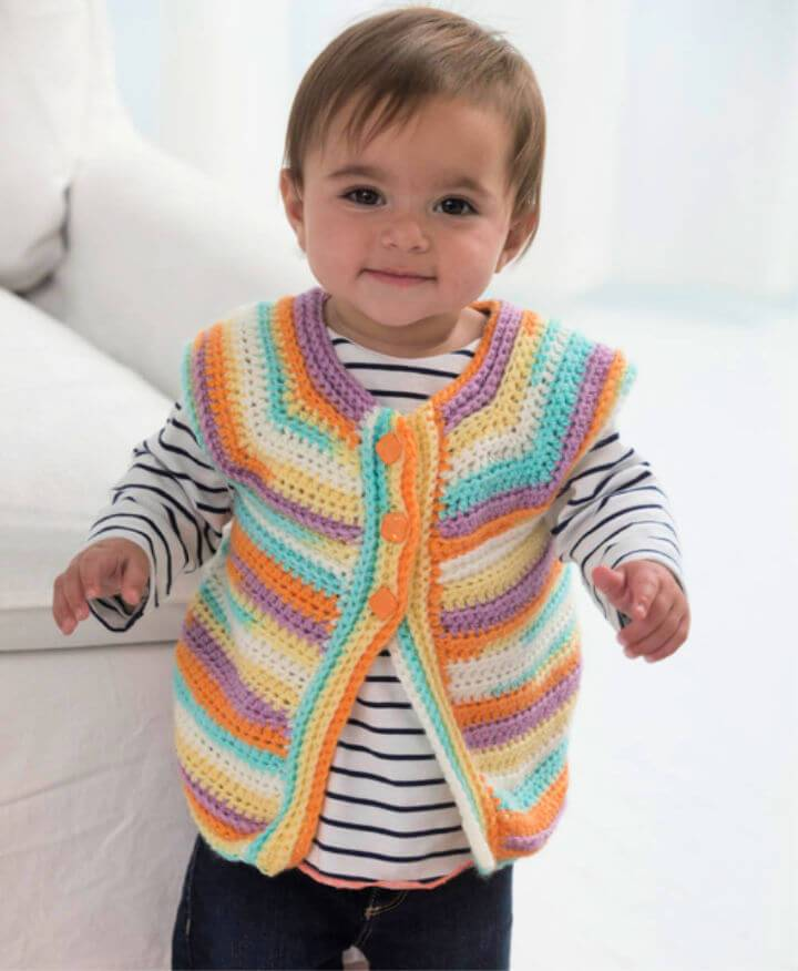 Free Crochet Banana Split Baby Vest Pattern