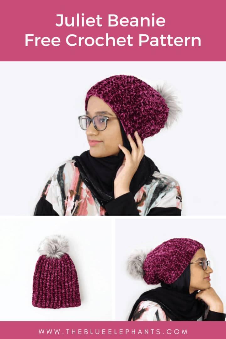 Free Crochet Beanie Pattern with Velvet Yarn