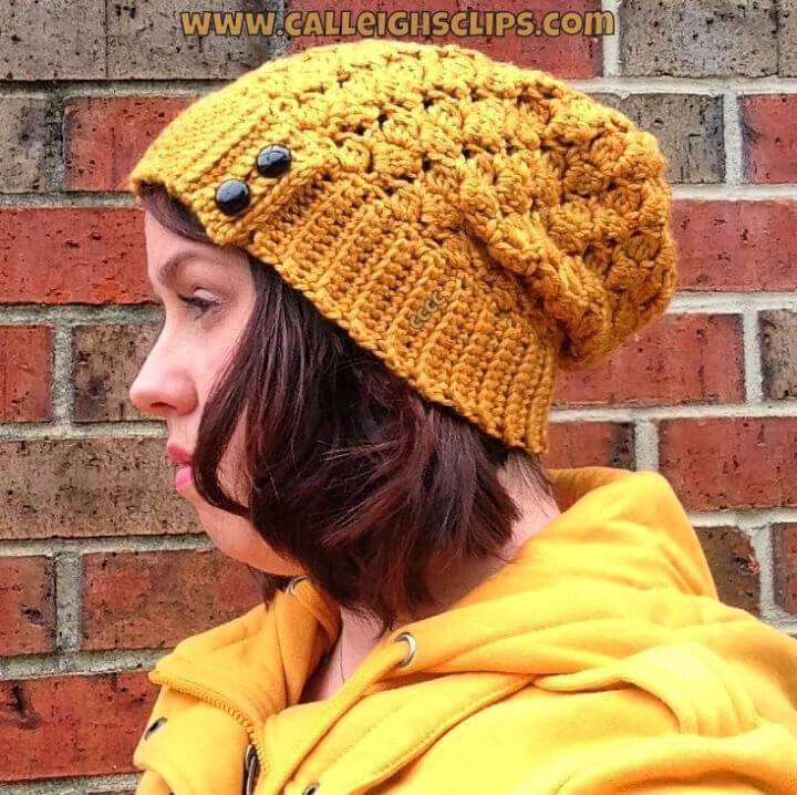 Free Crochet Key Tab Slouchy Hat Pattern