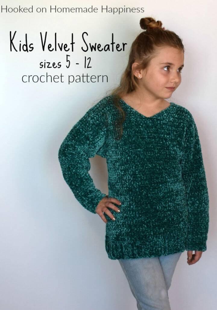 Free Crochet Kid's Velvet Sweater Pattern