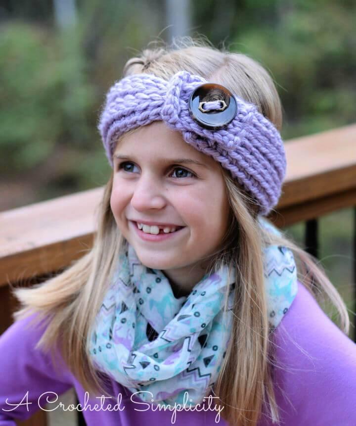 "Free Crochet Knit look"" Chunky Headwarmer Child"
