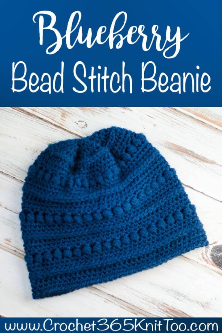 Free Crochet One Skein Blueberry Bead Stitch Beanie Pattern