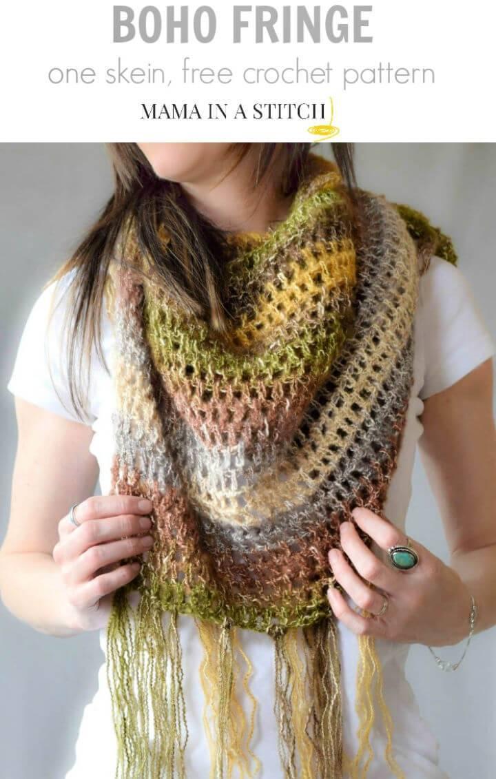 Free Crochet One Skein Boho Shawl Pattern