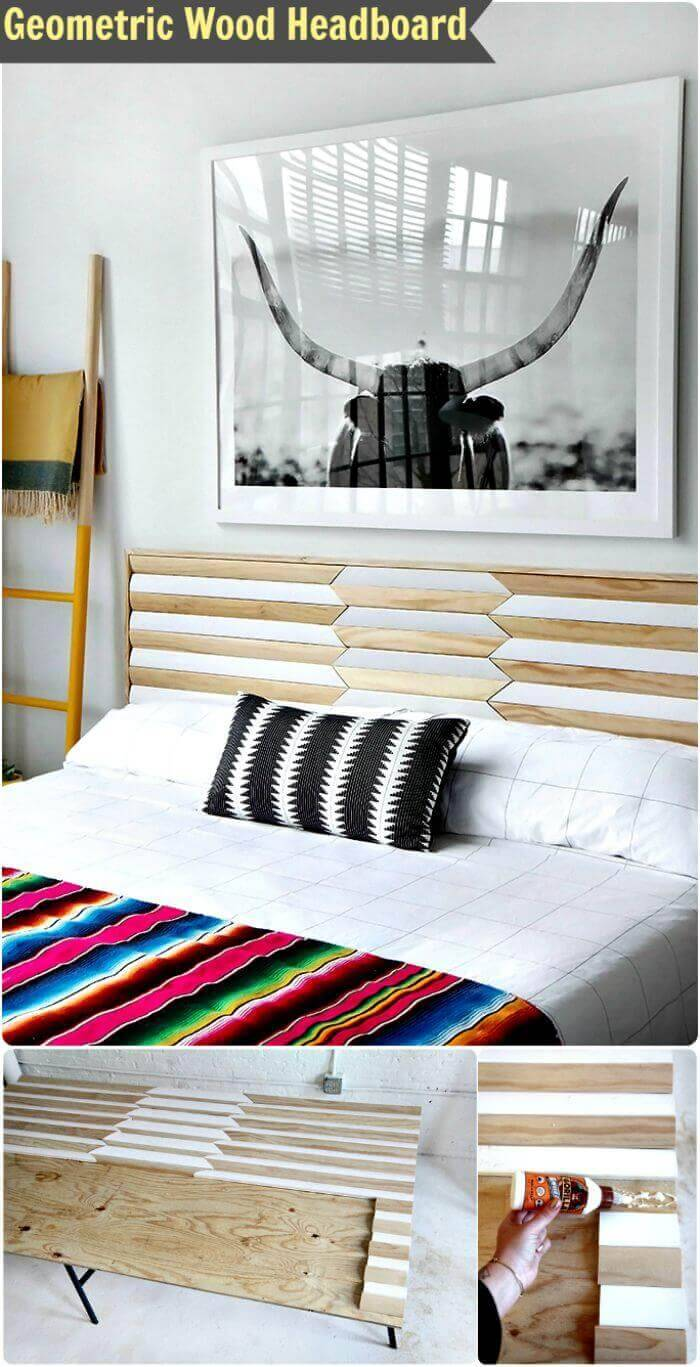 Geometric Wood Headboard