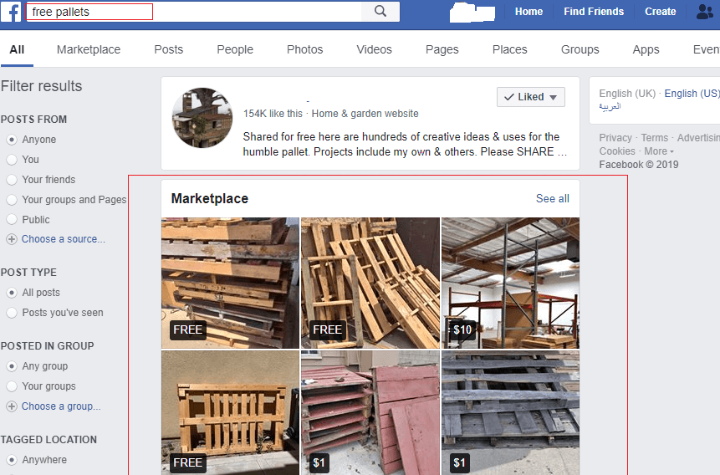 Get Free Pallets on Facebook