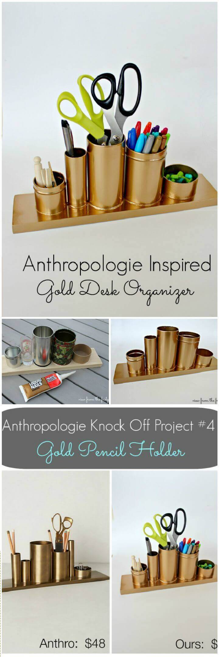 Gold Pencil Holder Anthro Knock Off