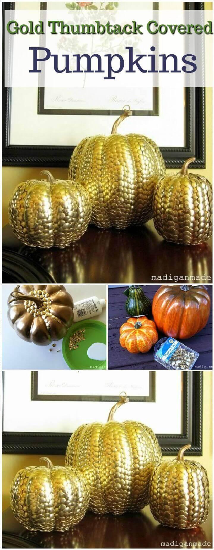 Gold Thumbtack Covered Pumpkins
