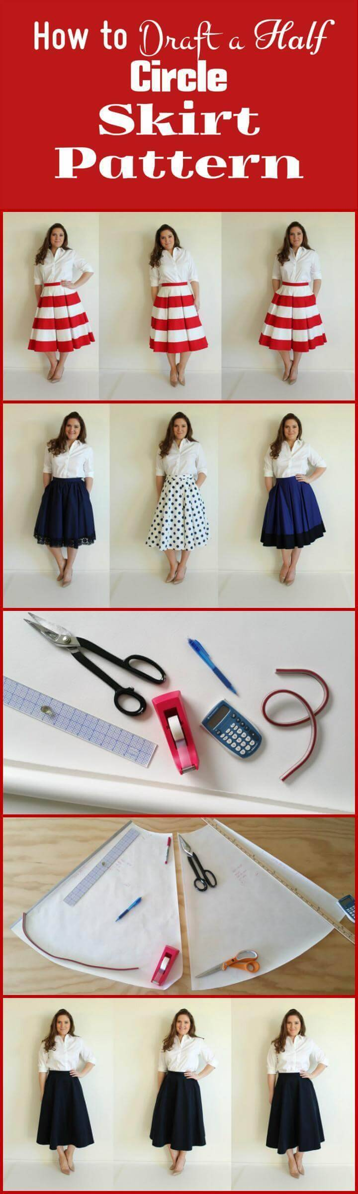 DIY how to draft a half circle skirt