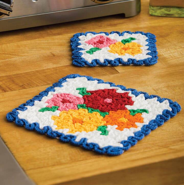 How to Crochet May Flowers Hot Pad