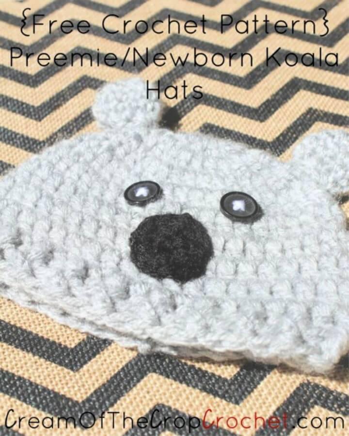 How to Crochet Preemie Newborn Koala Hat 1