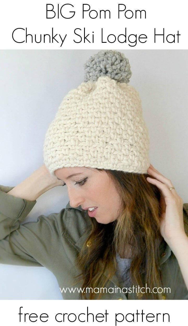 How to Crochet Ski Lodge Chunky Pom Hat 1