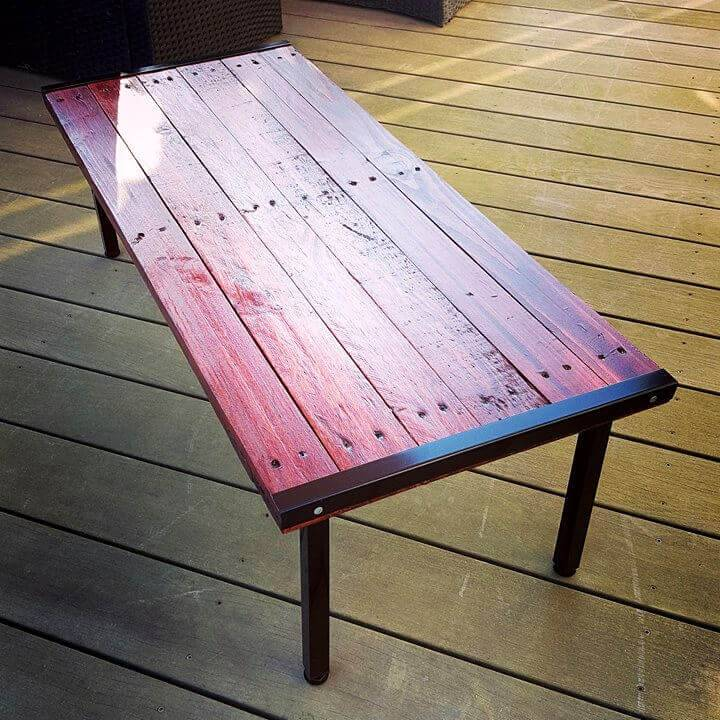 Mahogany Stained Pallet Coffee Table