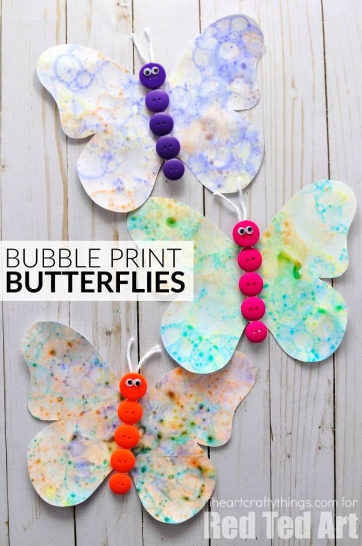 Make Bubble Art Butterflies Craft for Camp