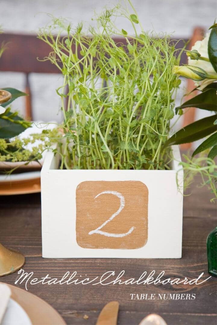 Make Metallic Chalkboard Table Number
