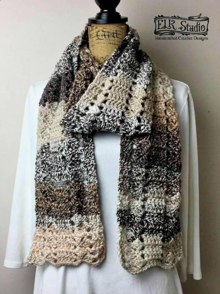 Mountain Land Scarf Free Crochet Pattern